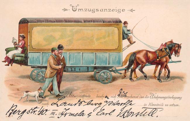 Historische Postkarte mit Umzugsanzeige