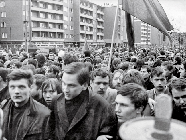 Demonstrierende Studenten im Jahr 1968