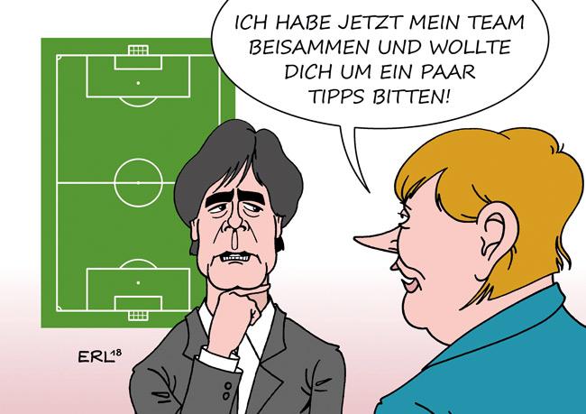 Karikatur mit Löw und Merkel