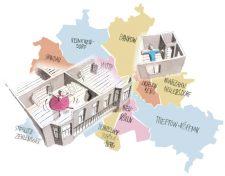 Grafik zu den bezirklichen Wohnungsgrößen
