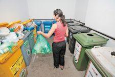 Müllplatz mit den unterschiedlichen Tonnen