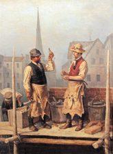 Bild von Theodor Hosemann: Maurer bauen das Rote Rathaus