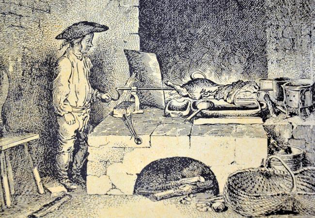 Alte Schwarzküche mit Küchengerät