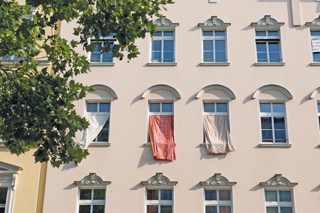 Protestlaken an den Fenstern