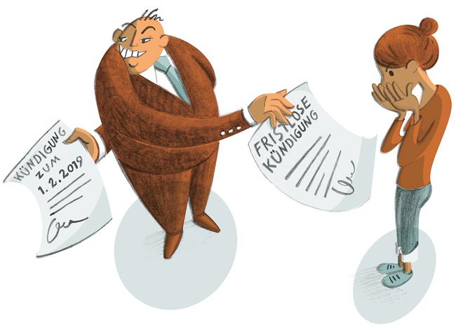 Illustration: Vermieter mit zwei Kündigungsschreiben