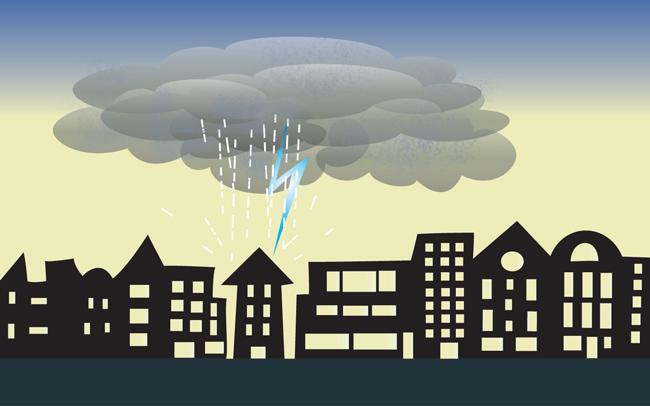 Illustration: Unwetter über der Stadt