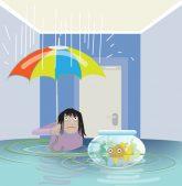 Illustration: Überschwemmung in der Wohnung