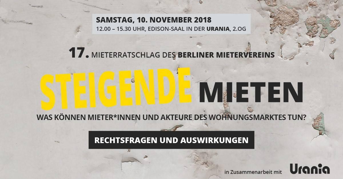 Einladung zum 17. Berliner Mieterratschlag 2018