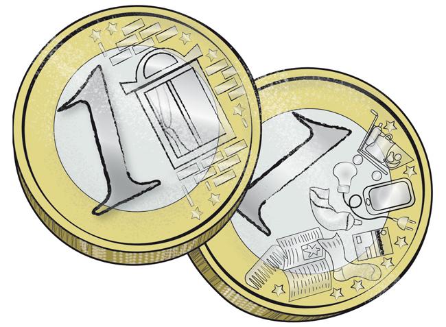 Illustration: Ein Euror für die Miete – einer für den Rest