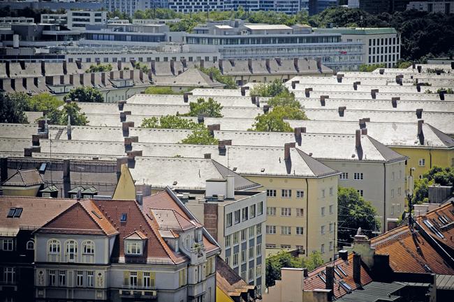 Lufbild: Wohnbauten in München