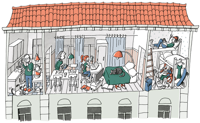 Zeichnung: Überbelegte Wohnung