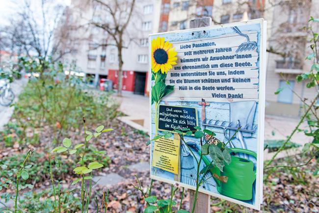 Hinweisschild zur Platzbepflanzung