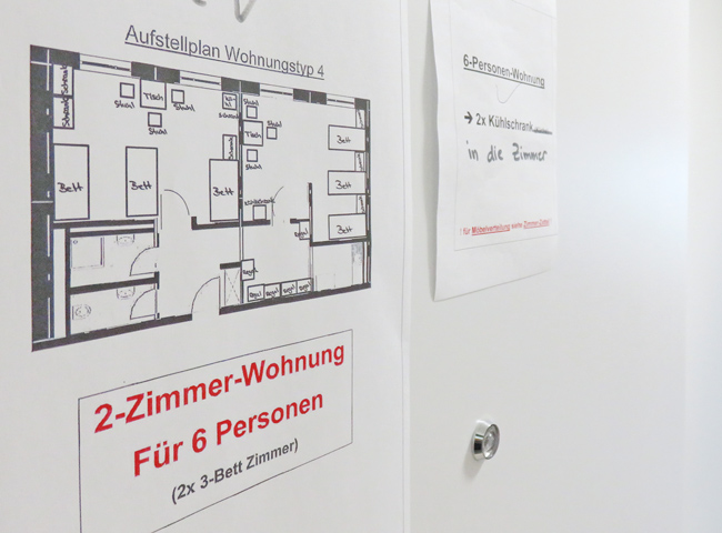 Grundriss für eine 2-Zimmer-Wohnung für 6 Personen