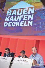Die Berliner SPD-Spitze auf dem Parteitag