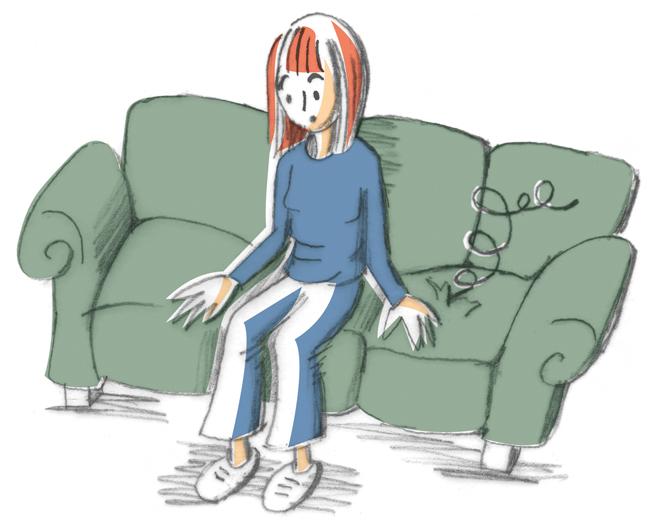 Illustration:Mieterin mit durchgesessenem Sofa