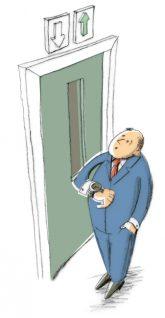 Illustration: Warten auf den Aufzug