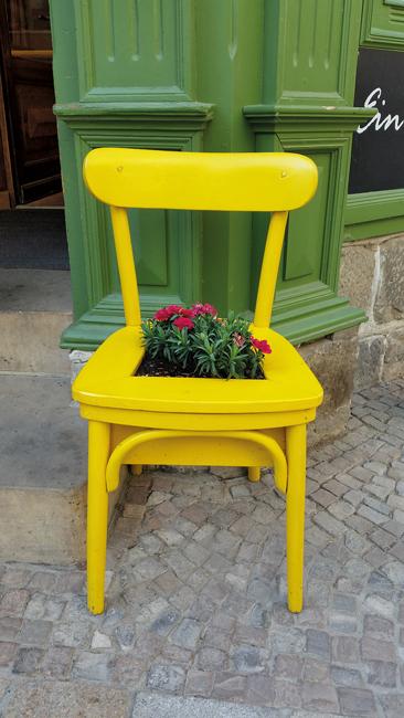 Rote Blumen, eingelassen in einen gelben Stuhl vor grünem Sims