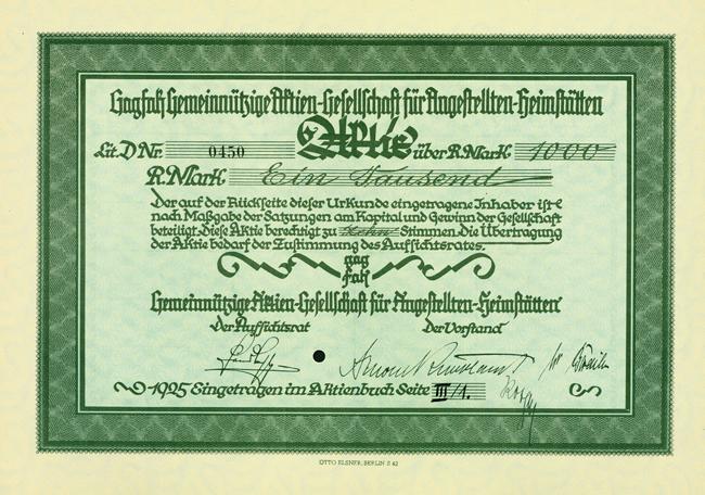 Gagfah-Aktie von 1925