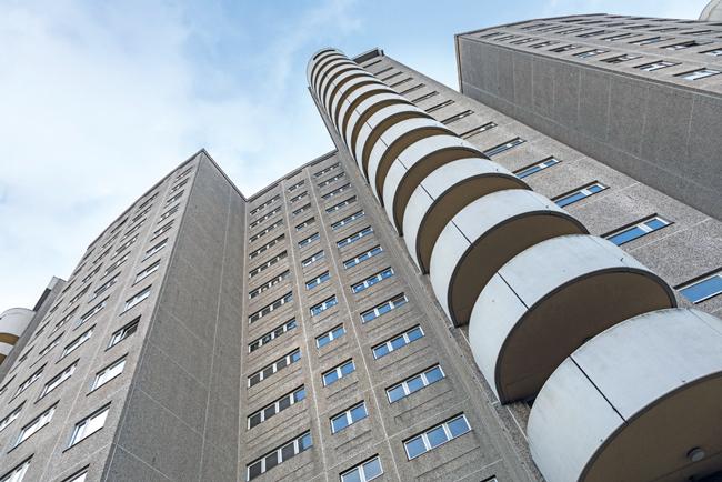 Hochhausfassade in der Gropiusstadt