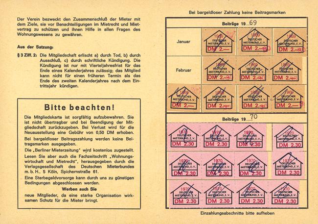 Mitgliedsausweis mit Stempelmarken von 1969