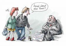 Karikatur: verarmter Hausbesitzer