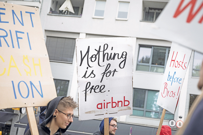 Demonstration gegen Airbnb