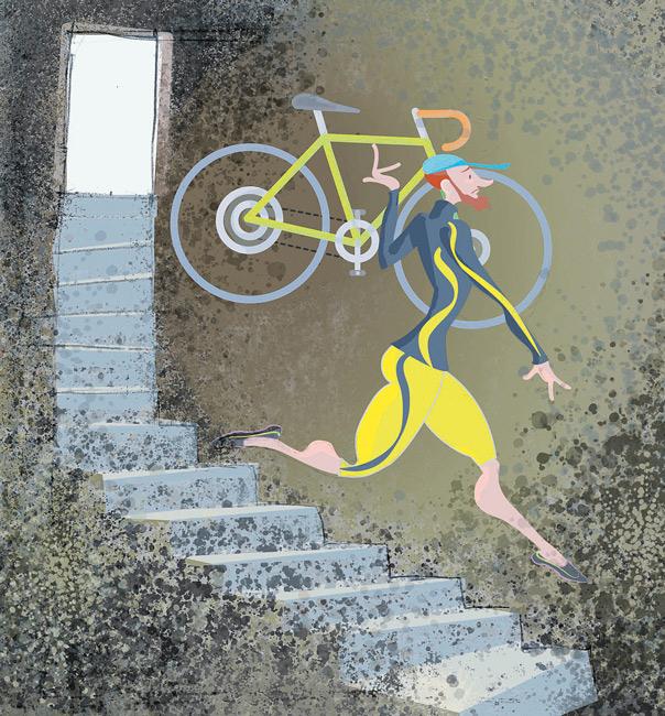 Illustration: Rennrad im Keller