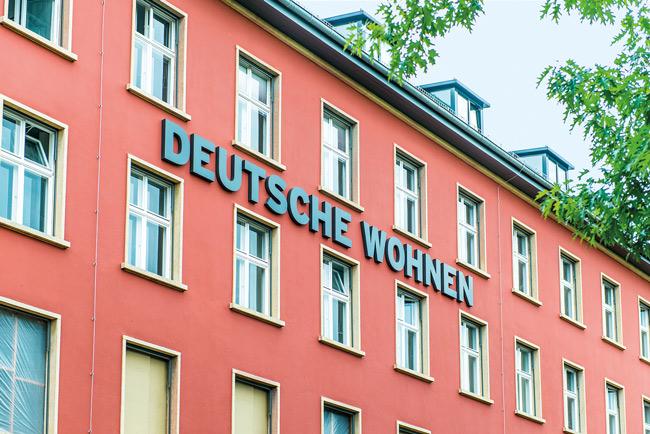 ,Deutsche Wohnen'-Schriftzug an der Fassade
