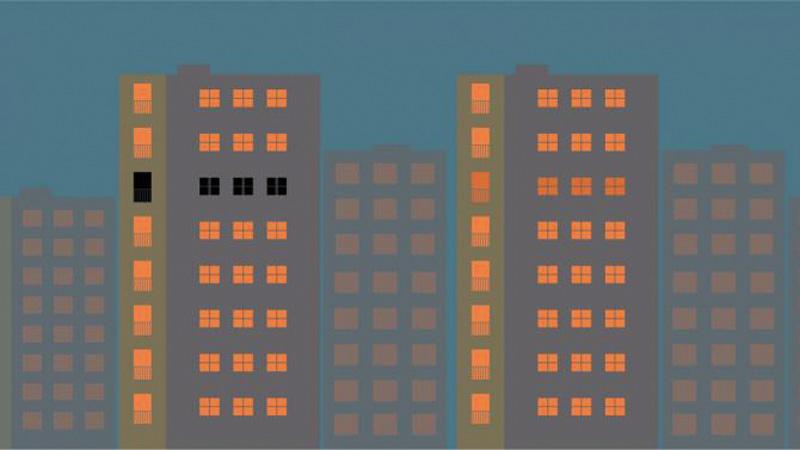 Stilisierte Hochhäuser, eine Etage dunkel