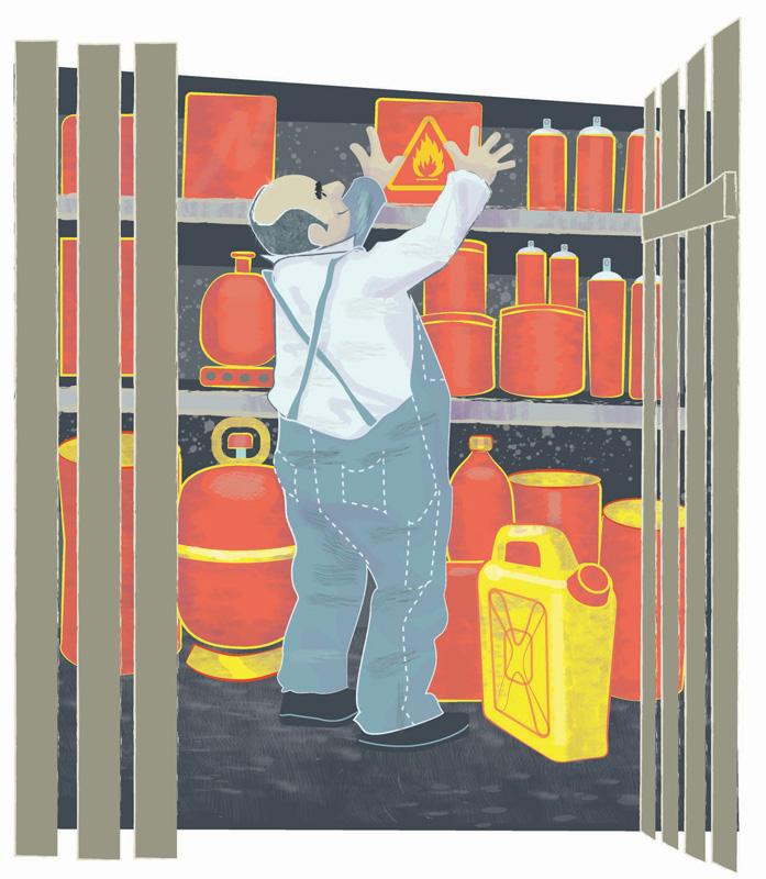 Illustration zu brennbaren Flüssigkeiten im Keller