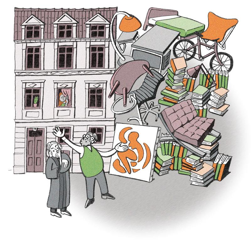 Illustration: Umzugsmöbel vorm Haus