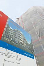 Bauschild für das ,Urban-Living'-Projekt
