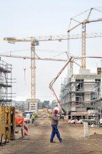 Baukräne auf einer Großbaustelle
