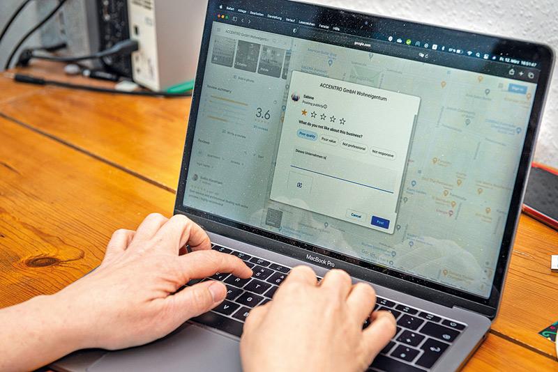 Schreiben einer Bewertung am PC