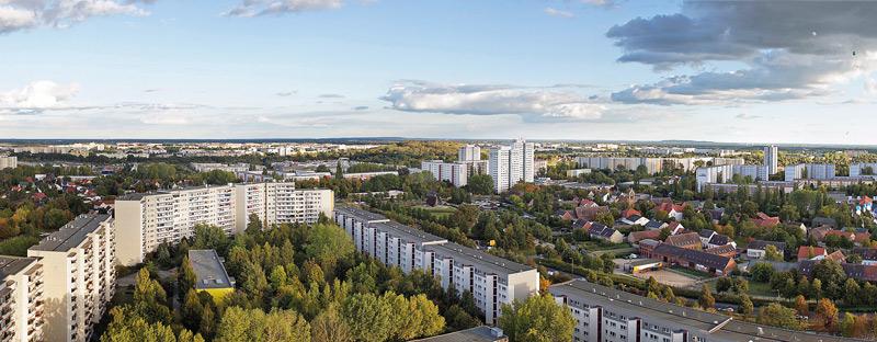 Luftbild von der Großsiedlung Marzahn