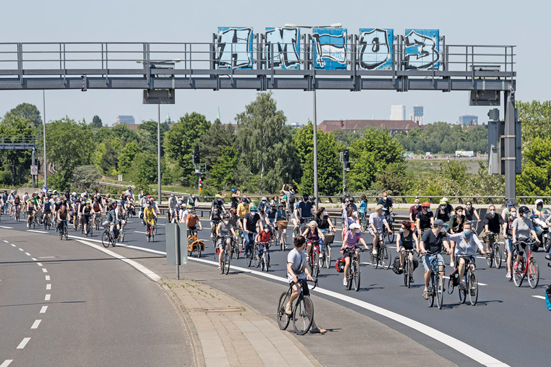 Fahrraddemonstration gegen den Weiterbau der A100
