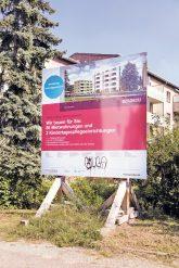 Bauschild der Gesobau in der Winkelriedstraße
